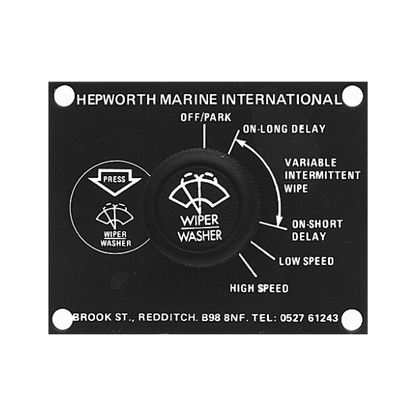 Hepworth Multi Speed Wiper Control Switch and Plate